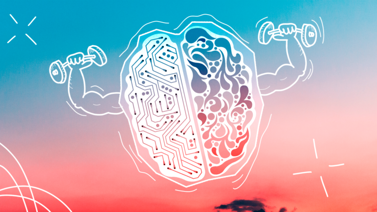 imagem de capa blog com cérebro em linhas de desenho com braços fazendo musculação representando benefícios para os funcionários