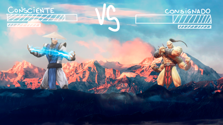 imagem de capa blog com dois personagens de video game lutando fazendo uma metáfora ao crédito consignado