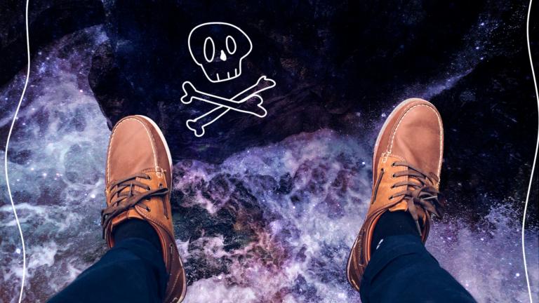 imagem de capa de blog com pernas de um homem vistas de cima, penduradas sobre o universo