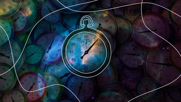 imagem de capa blog com o desenho de um cronômetro em forma de relógio num fundo escuro do universo representando as parcelas atrasadas