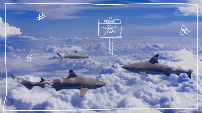 imagem capa blog com tubarões nadando sobre nuvens com uma placa de radioativo representando os perigos da black friday