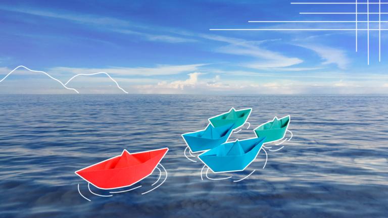 imagem de capa com uma fila de barquinhos de papel flutuando num mar infinito representando o desenvolvimento de liderança