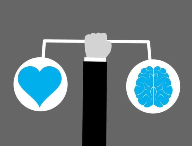 Ilustração de uma pessoa fazendo o balanço da inteligência emocional no trabalho