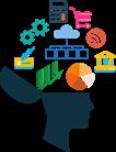 cabeça de uma pessoa com a parte superior da cabeça aberta e com ícones de calculadora, carrinho de supermercado, wifi, engrenagem, gráfico flutuando em cima da cabeça aberta