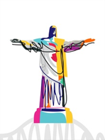 Cristo Redentor com imagens coloridas