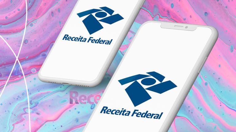 imagem capa blog com dois celulares com a imagem da receita federal de plano de fundo do celular