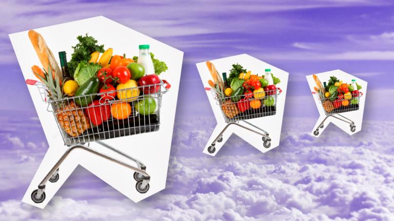 imagem de capa blog com três carrinhos de supermercados com ´varios legumes dentro representando as dicas para economizar no supermercado