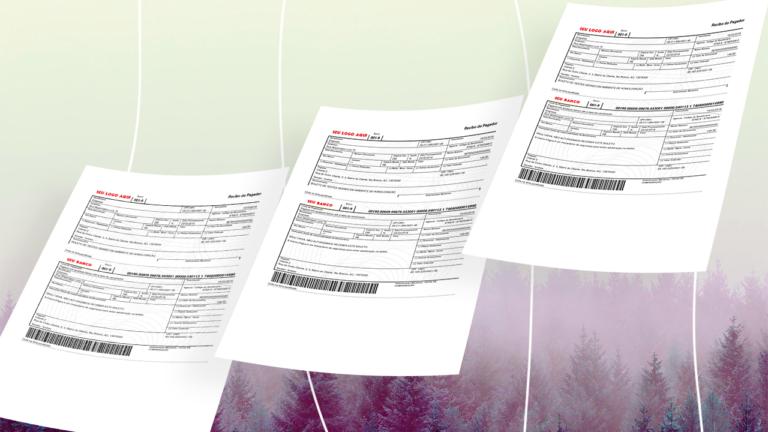 três folhas de sulfite com uma conta em boleto impressas representando os boletos